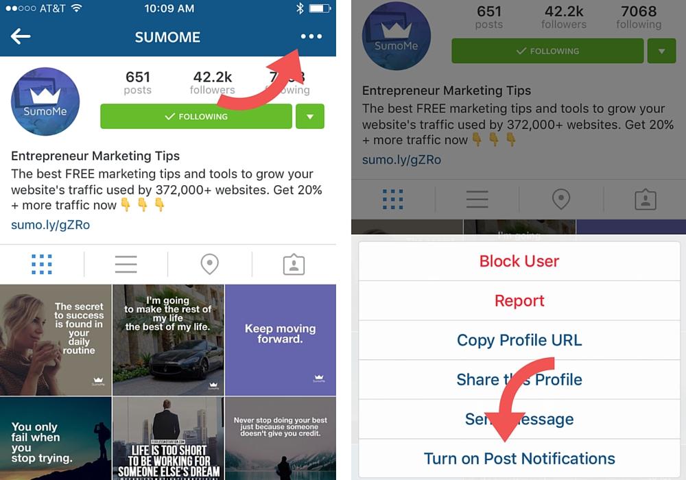 Turn on notifications in Instagram